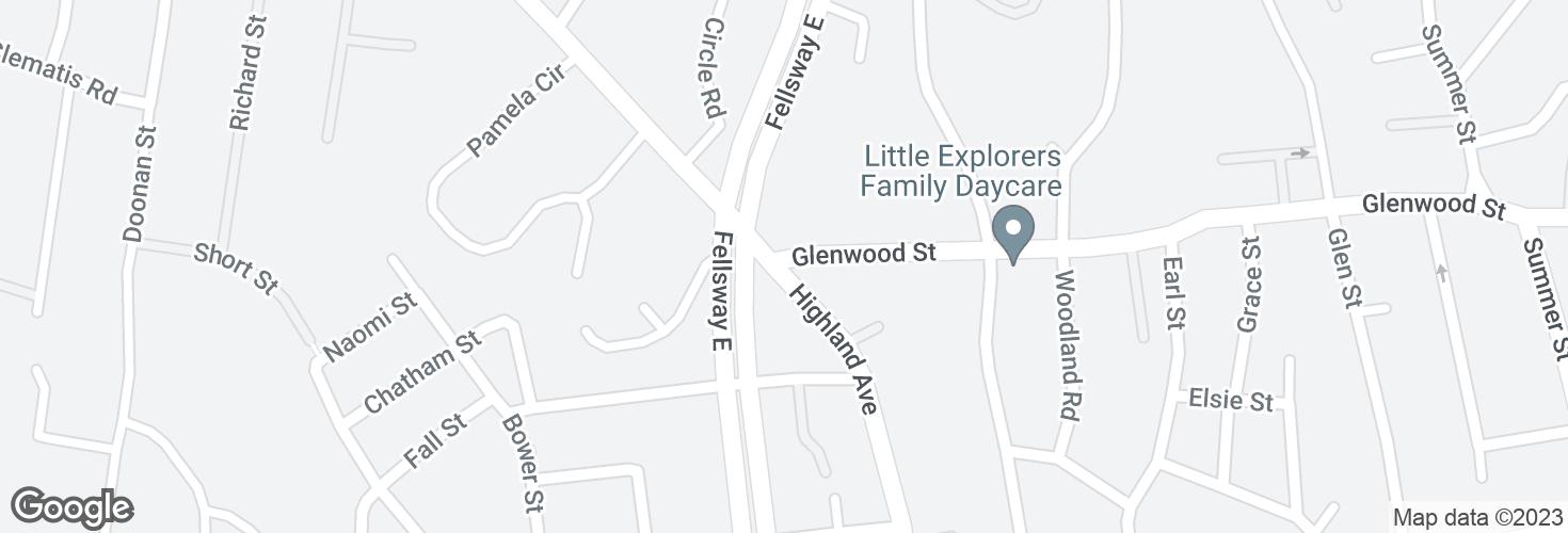 Map of Highland Ave @ Glenwood St and surrounding area