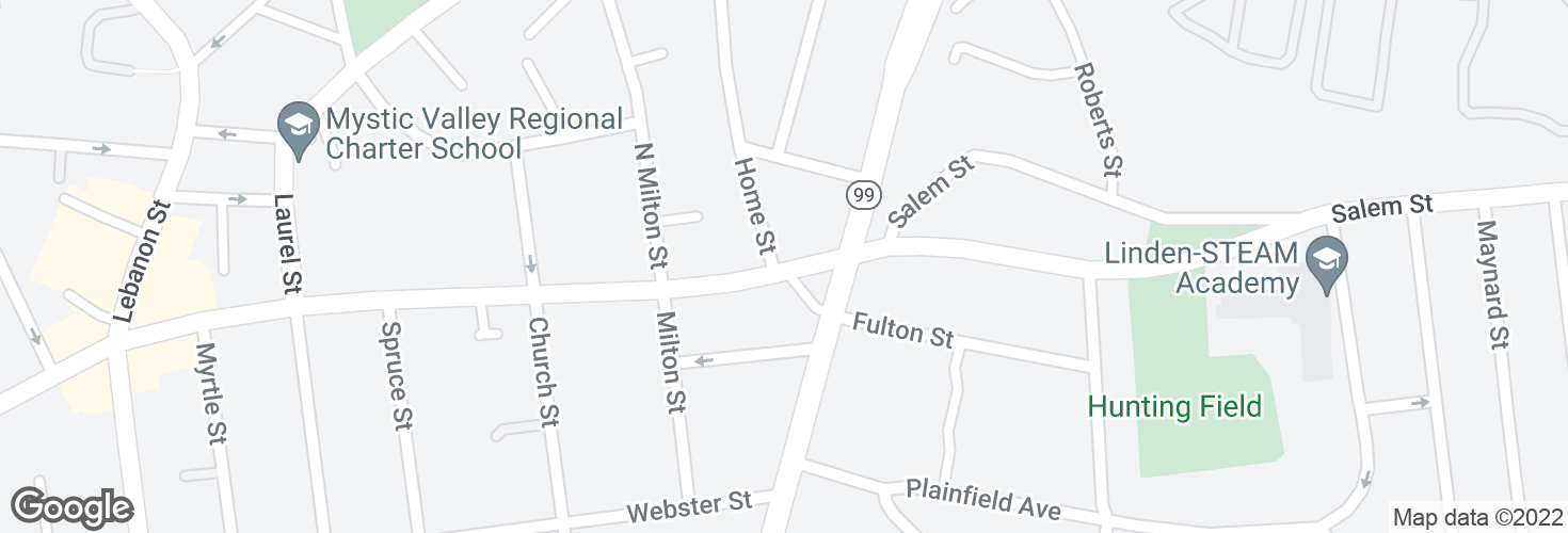 Map of Salem St @ Home St - Broadway Sq and surrounding area