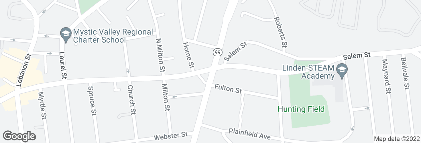 Map of Salem St @ Broadway - Broadway Sq and surrounding area