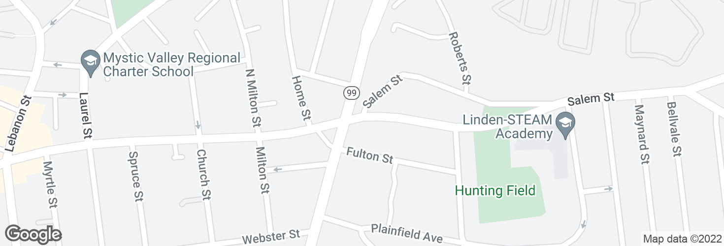 Map of Hunting St @ Salem St and surrounding area