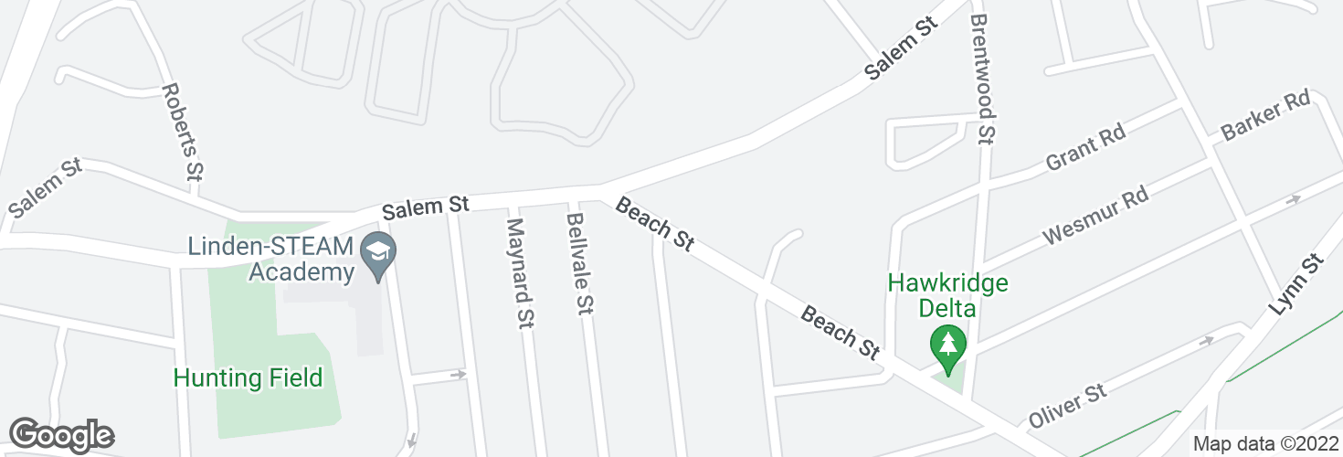 Map of Beach St @ Clapp St and surrounding area