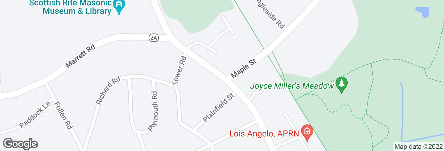 Map of Massachusetts Ave @ Maple St and surrounding area