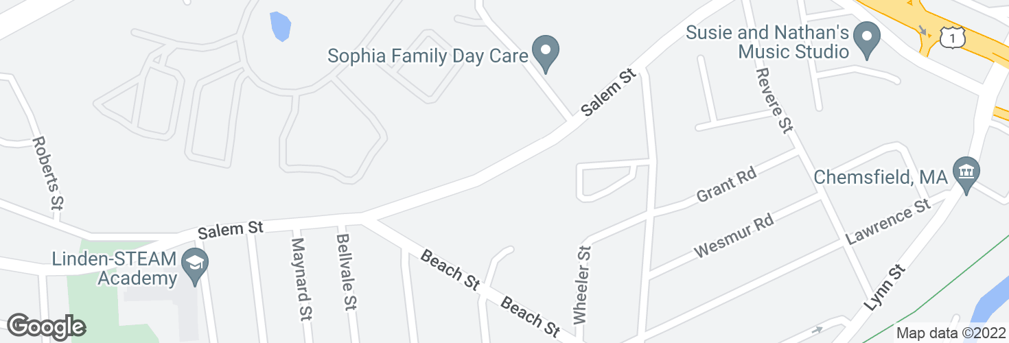 Map of Salem St @ Clapp St and surrounding area