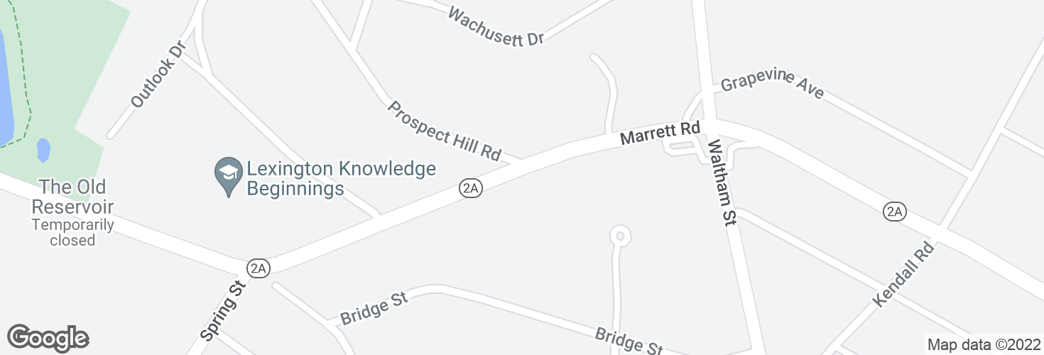 Map of Marrett Rd opp Prospect Hill Rd and surrounding area