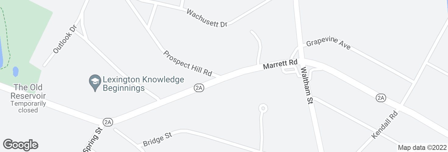 Map of Marrett Rd @ Prospect Hill Rd and surrounding area