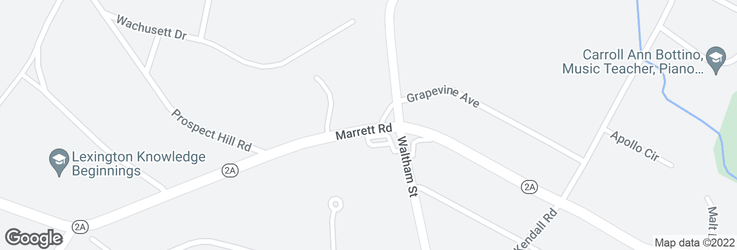 Map of Marrett Rd @ Waltham St and surrounding area