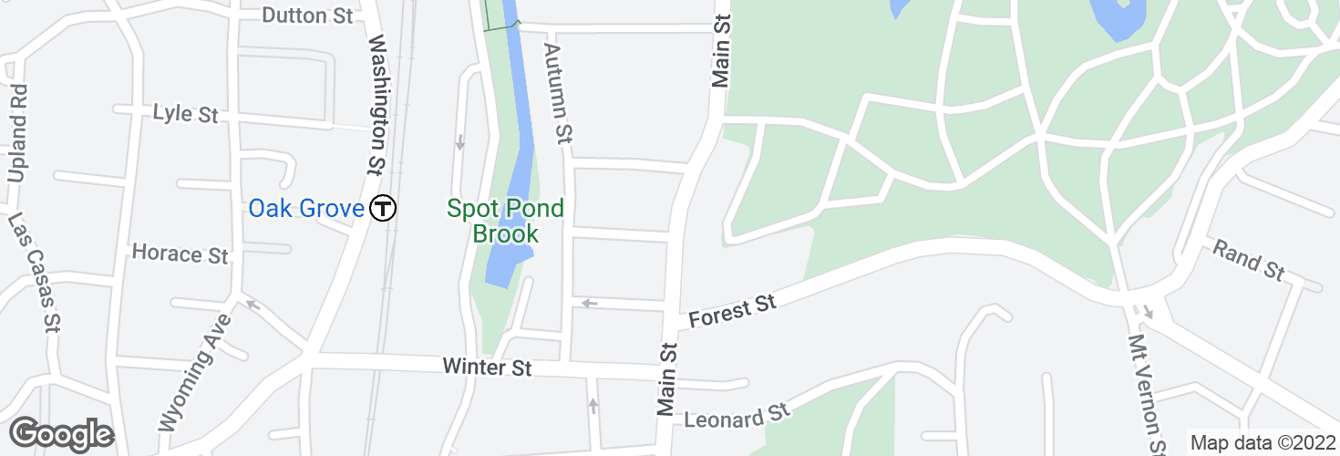 Map of Main St @ Rosemont St and surrounding area