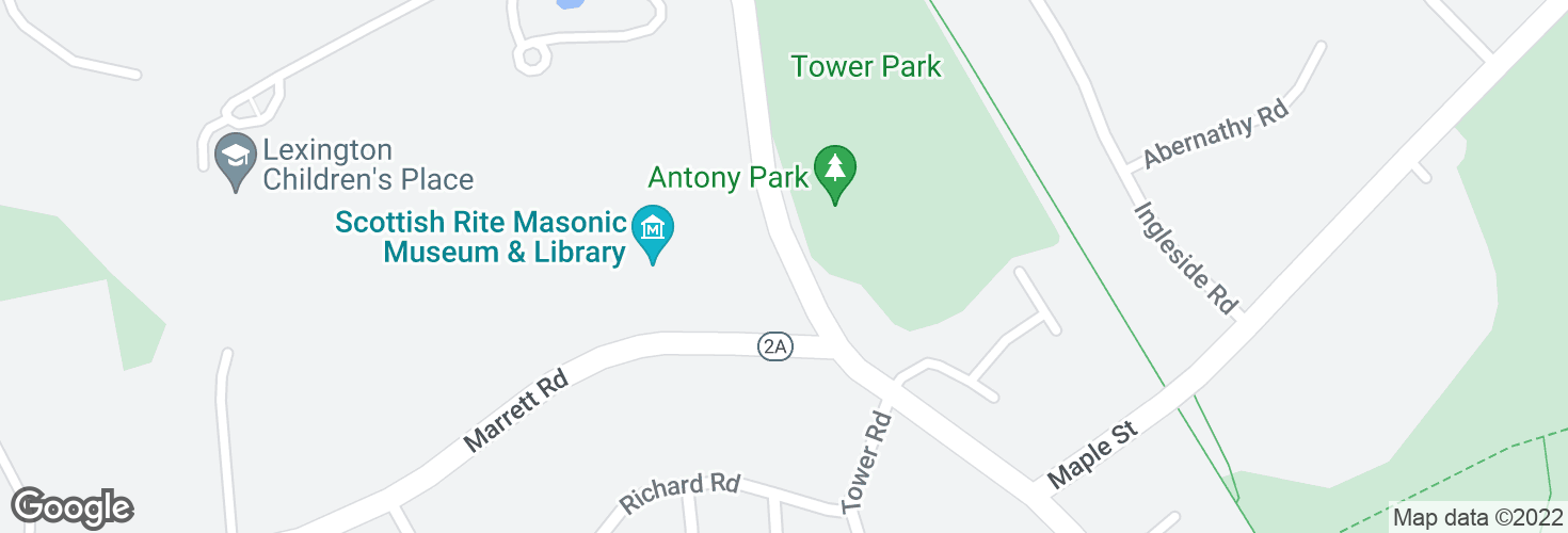 Map of Massachusetts Ave @ Marrett Rd and surrounding area