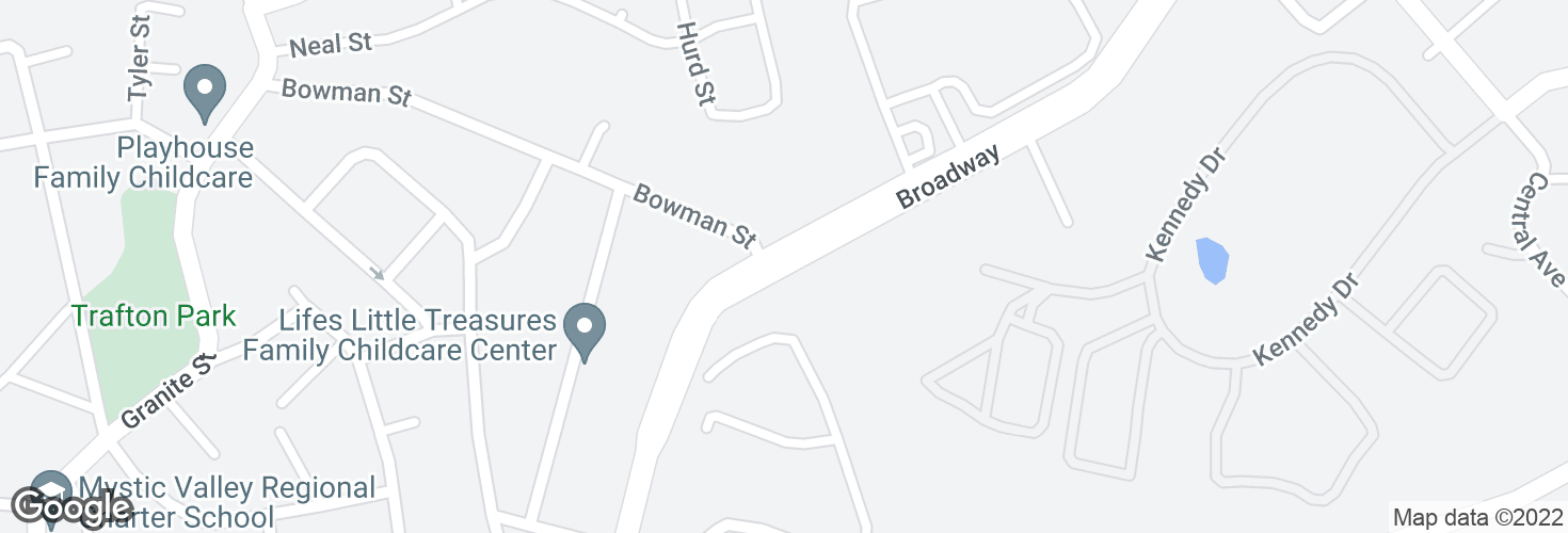 Map of Broadway opp Bowman St and surrounding area