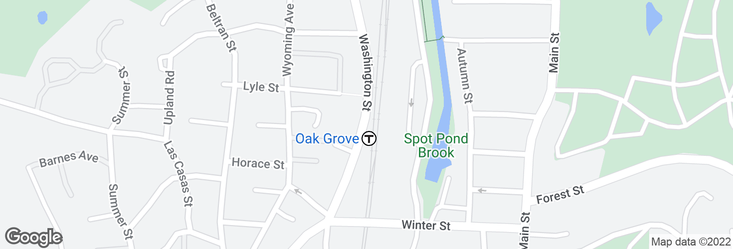 Map of Washington St @ Oak Grove Station and surrounding area