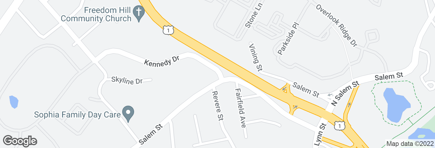 Map of Kennedy Dr @ Salem St and surrounding area