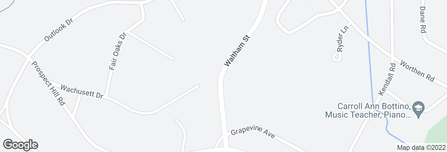 Map of Waltham St opp Wachusett Dr and surrounding area