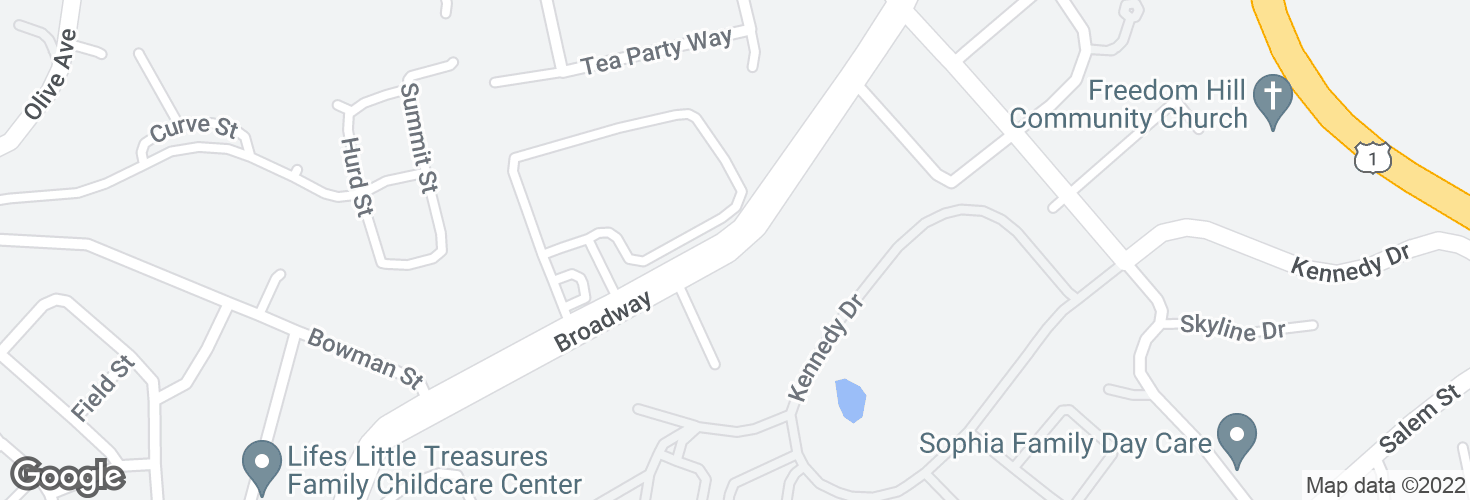 Map of Broadway opp Cliffside Commons and surrounding area