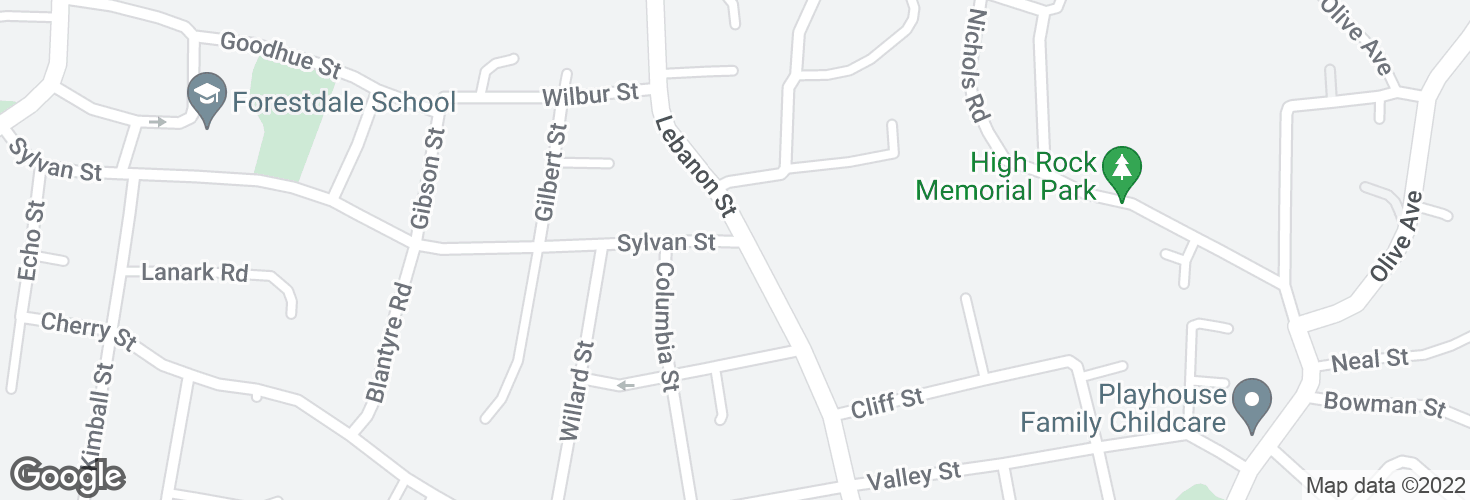 Map of Sylvan St @ Lebanon St and surrounding area
