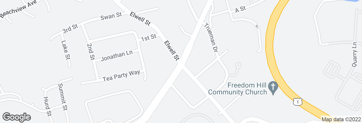 Map of Broadway @ Elwell St and surrounding area