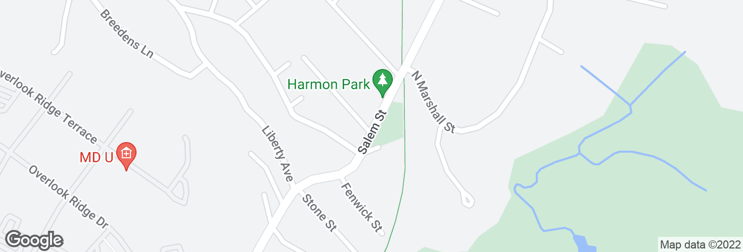 Map of Salem St @ Walnut St and surrounding area