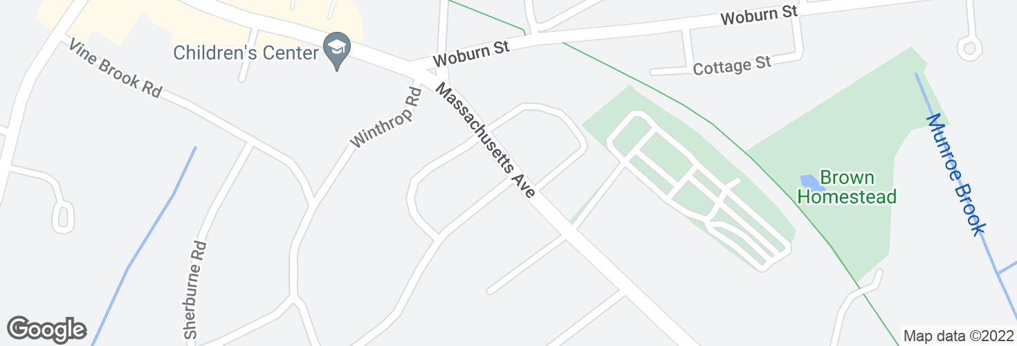 Map of Massachusetts Ave @ Slocum Rd and surrounding area
