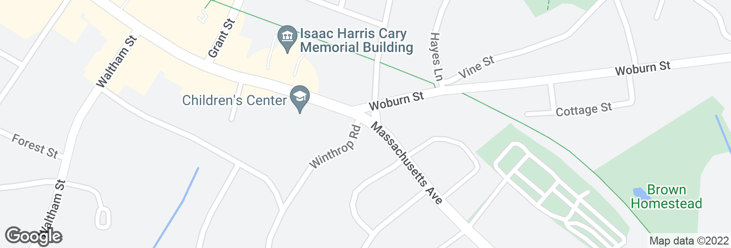Map of Massachusetts Ave @ Winthrop Rd and surrounding area
