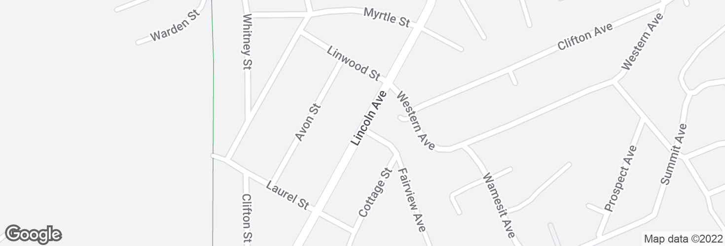 Map of Lincoln Ave @ Linwood St and surrounding area