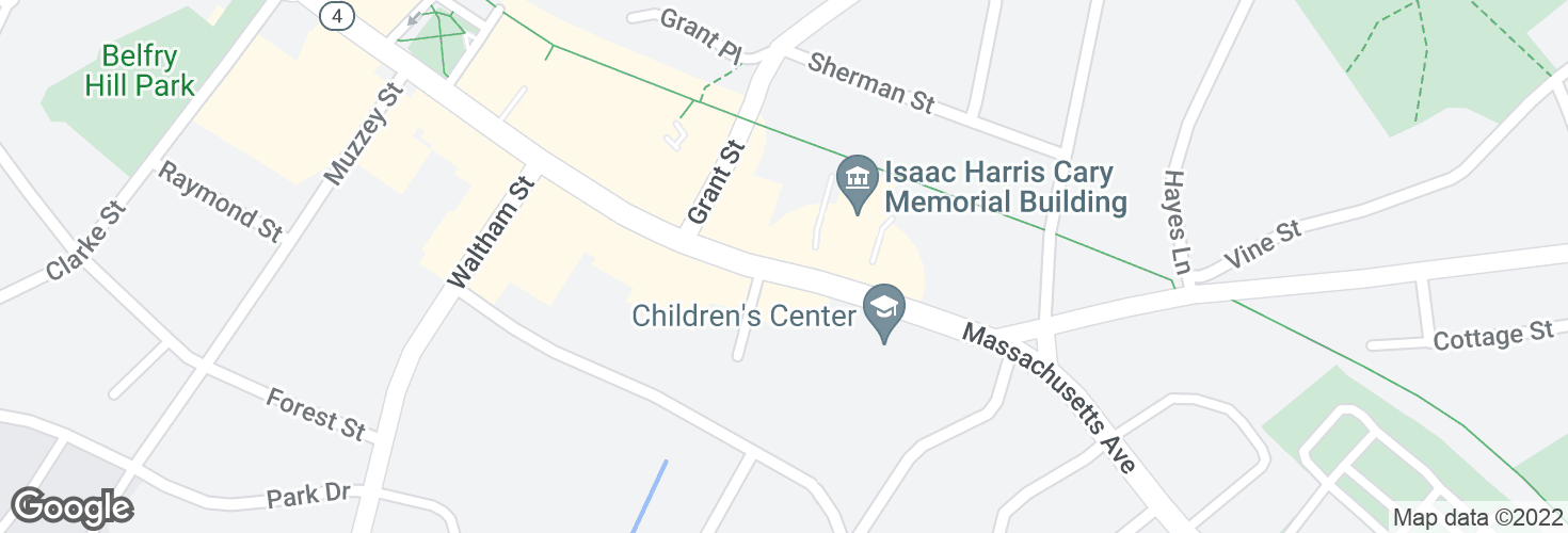 Map of Massachusetts Ave @ Lexington Post Office and surrounding area