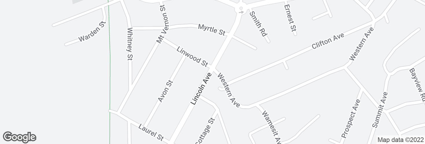 Map of Lincoln Ave @ Western Ave and surrounding area