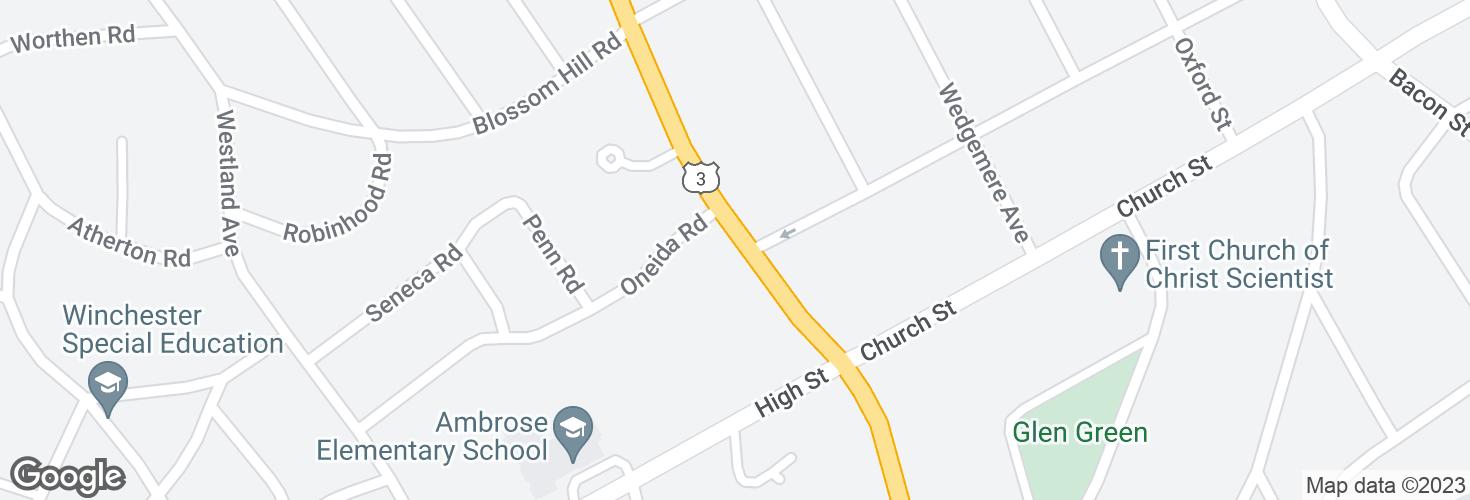 Map of Cambridge St @ Oneida Rd and surrounding area