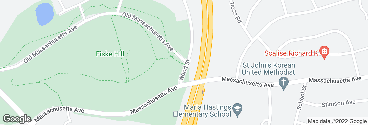 Map of Old Mass Ave @ Wood St and surrounding area