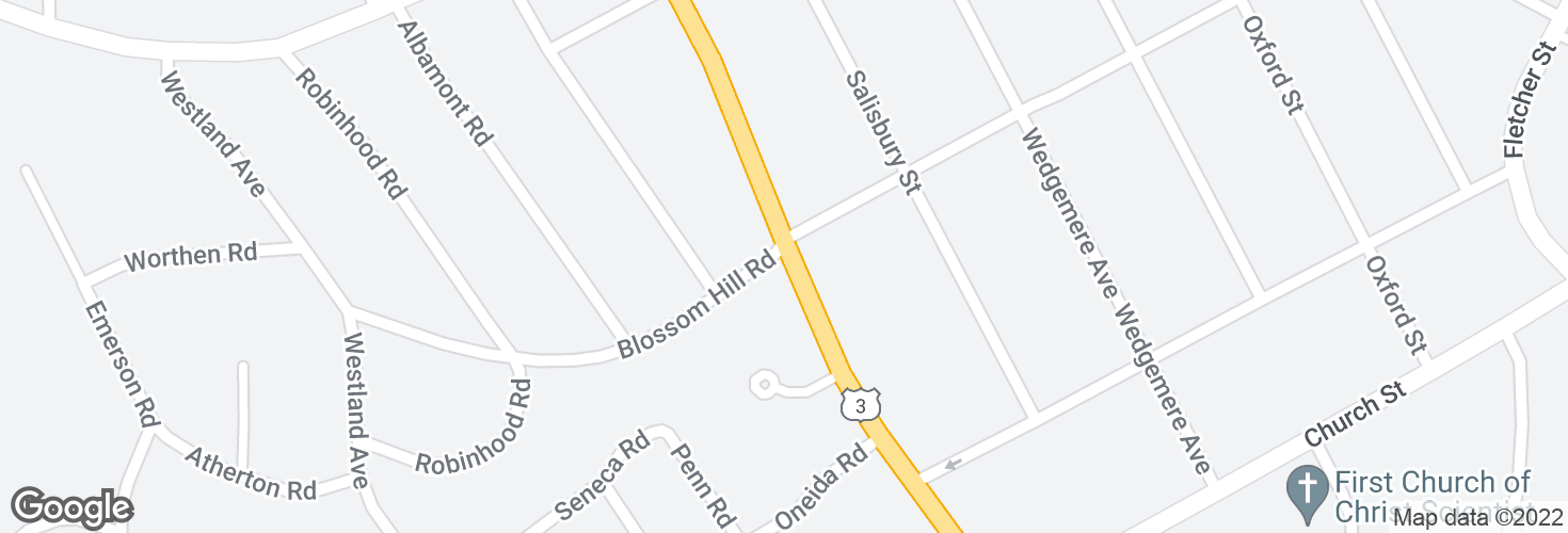 Map of Cambridge St @ Blossom Hill Rd and surrounding area