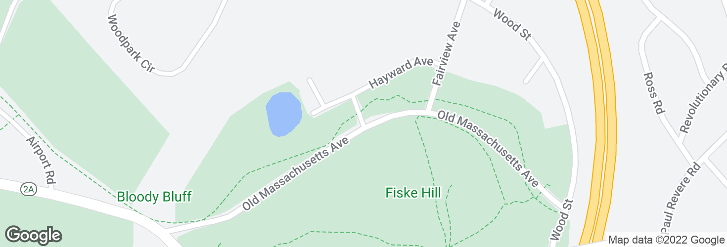 Map of Old Mass Ave @ Bonair Ave and surrounding area