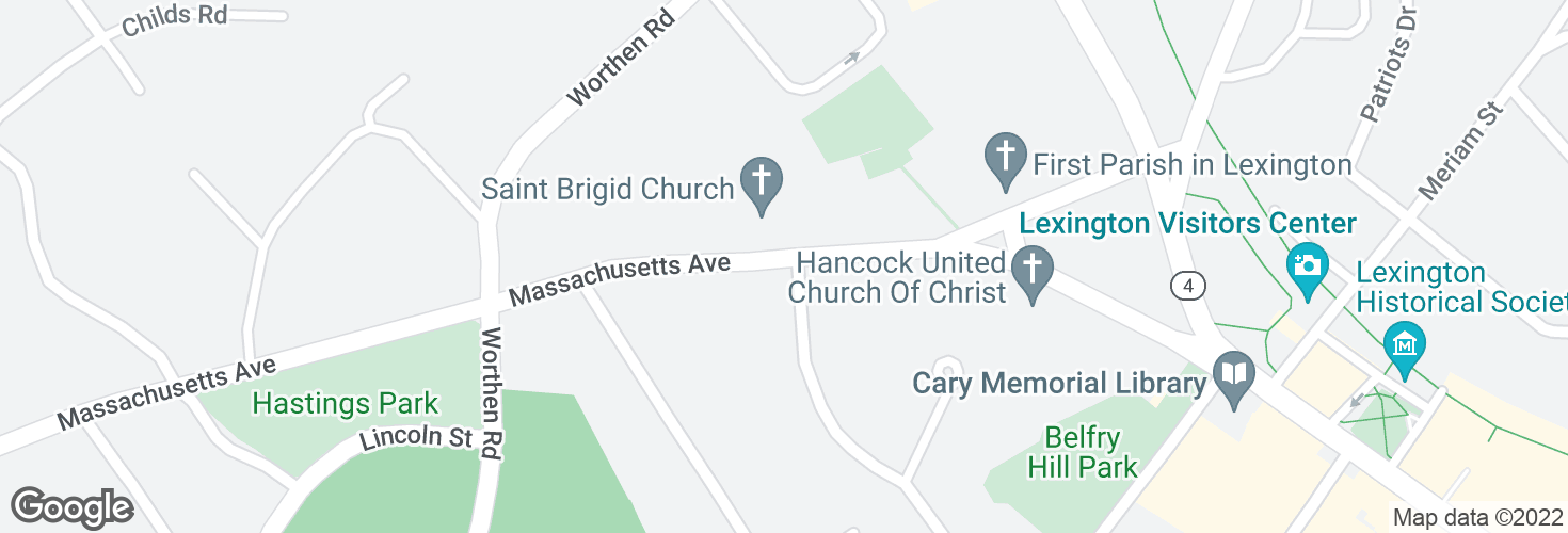 Map of Massachusetts Ave @ Forest St and surrounding area