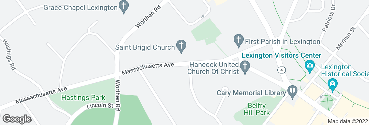 Map of Massachusetts Ave opp Forest St and surrounding area
