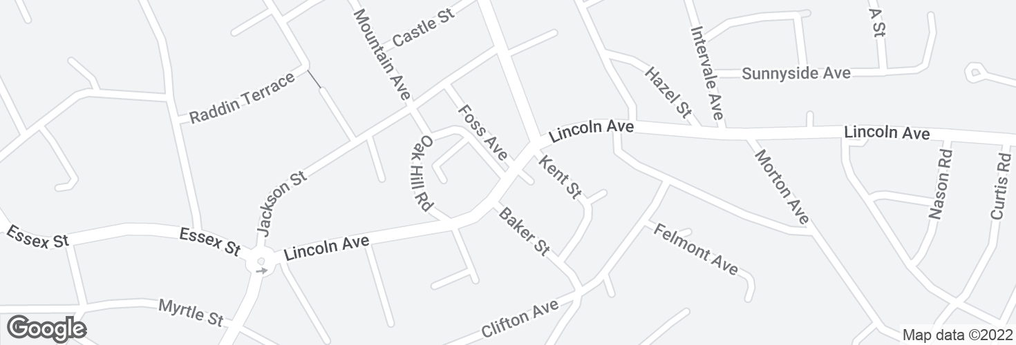 Map of Lincoln Ave @ Oak Hill Rd and surrounding area