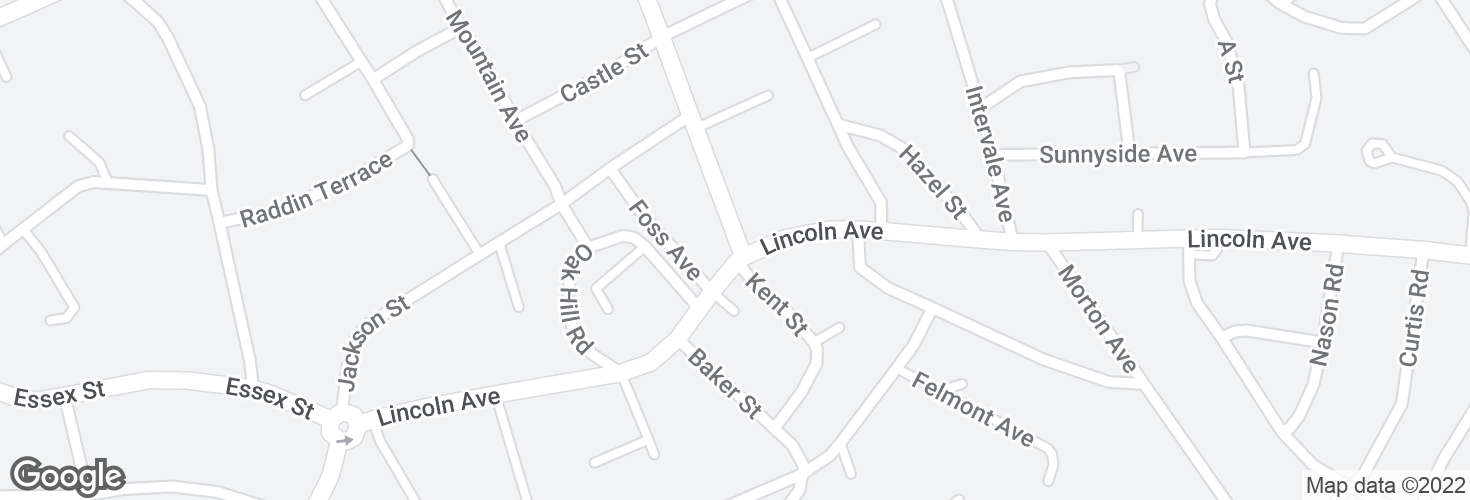 Map of Central St @ Lincoln Ave and surrounding area