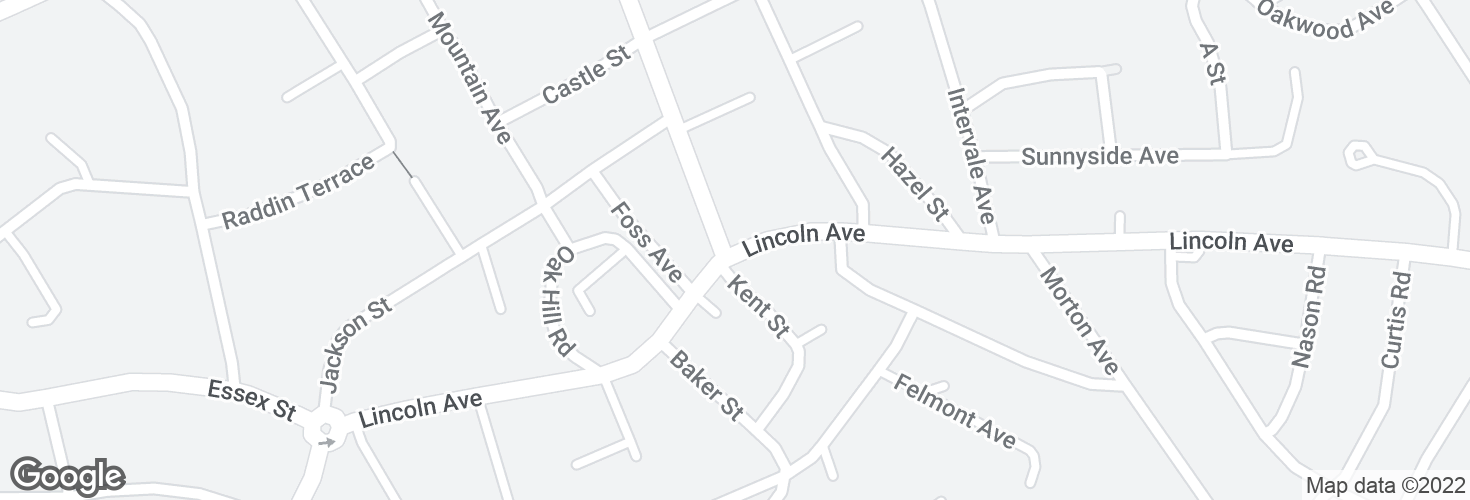 Map of Lincoln Ave @ Central St and surrounding area