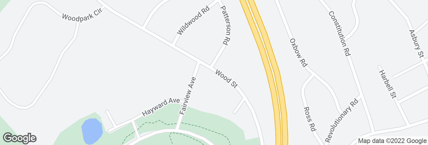 Map of Wood St opp Patterson Rd and surrounding area
