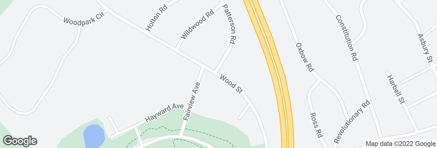 Map of Wood St @ Patterson Rd and surrounding area
