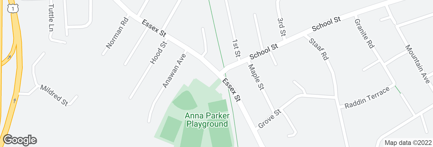 Map of Essex St opp School St and surrounding area