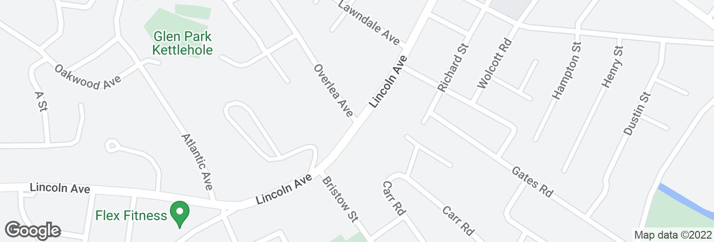 Map of Lincoln Ave @ Overlea Ave and surrounding area