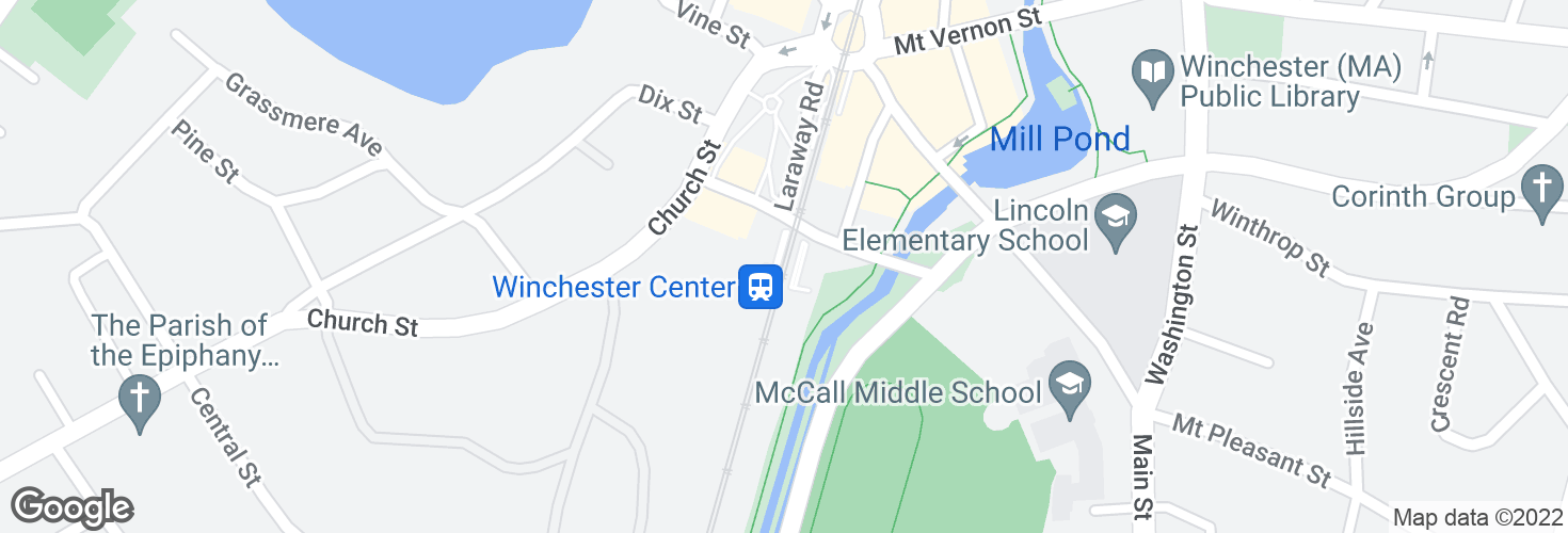 Map of Winchester Center and surrounding area