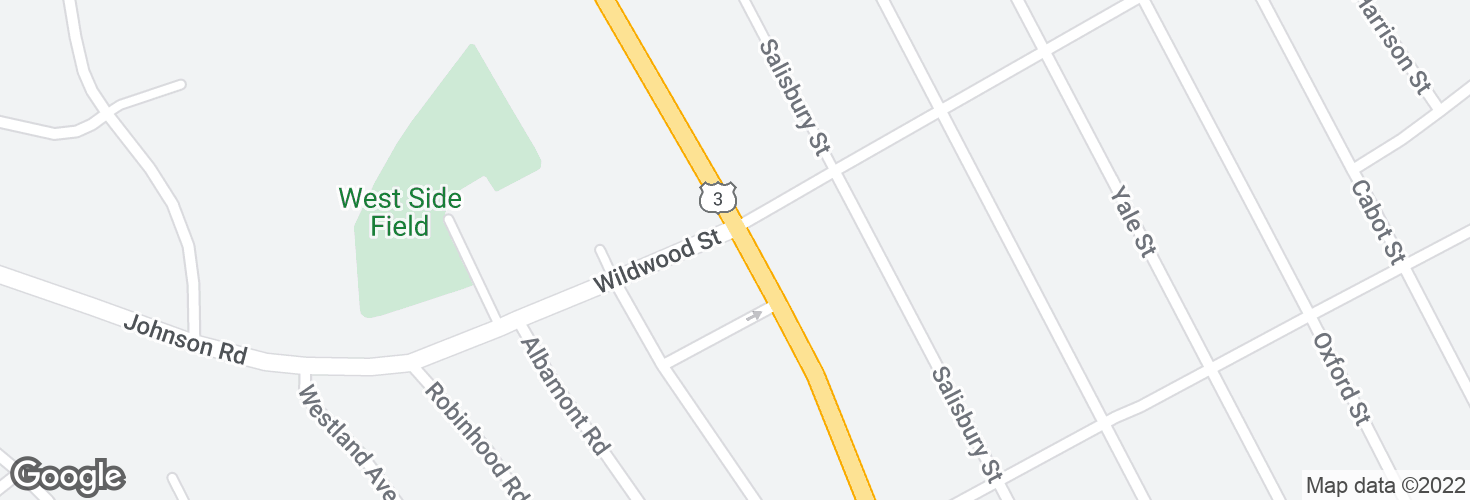 Map of Cambridge St @ Wildwood St and surrounding area