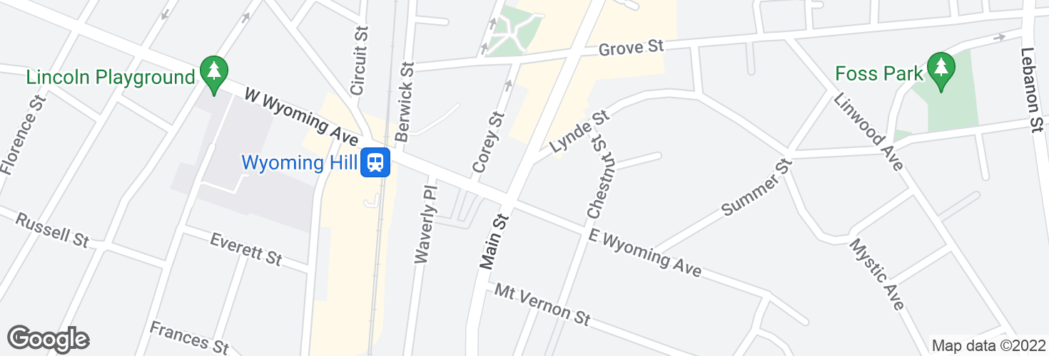 Map of Main St @ E Wyoming Ave and surrounding area