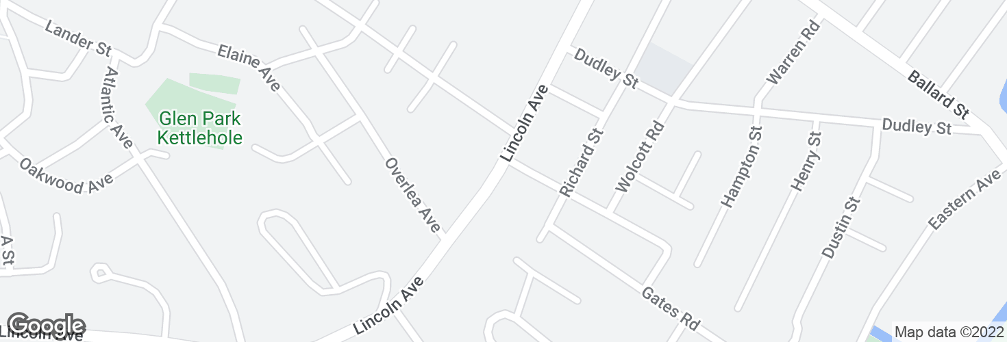 Map of Lincoln Ave @ Guild Rd and surrounding area