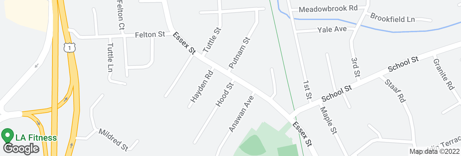 Map of Essex St @ Hood St and surrounding area