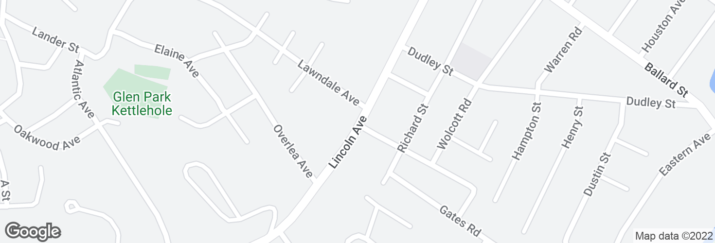 Map of Lincoln Ave opp Guild Rd and surrounding area