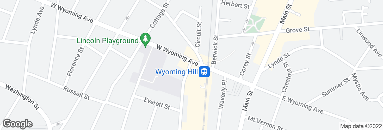 Map of Pleasant St @ Wyoming Ave - Wyoming Sq and surrounding area