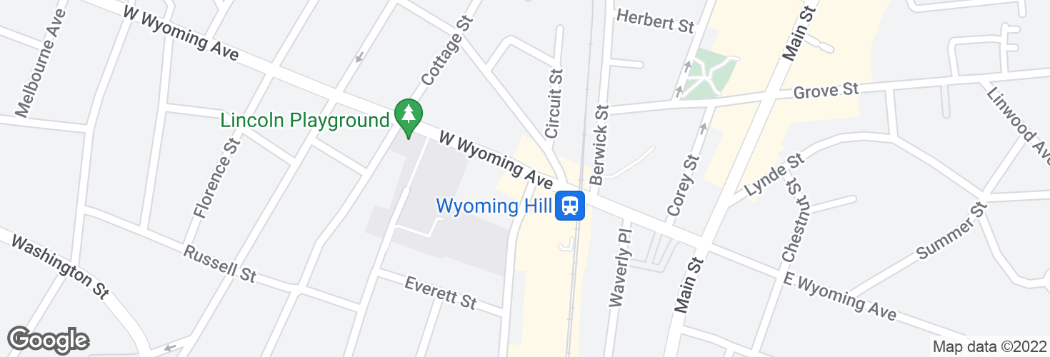 Map of Wyoming Ave @ Pleasant St and surrounding area