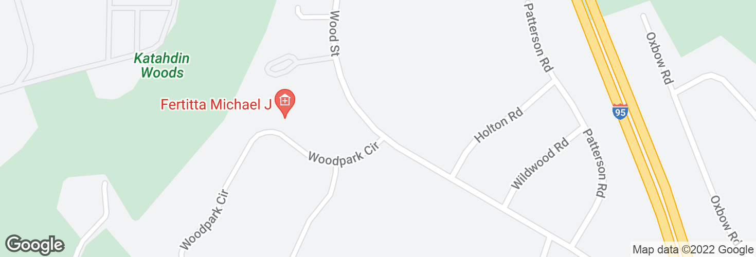 Map of Wood St opp Woodpark Circle and surrounding area