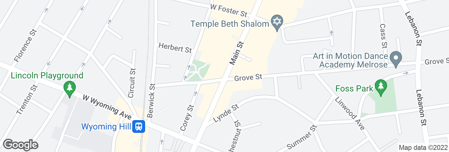 Map of Main St @ Grove St and surrounding area