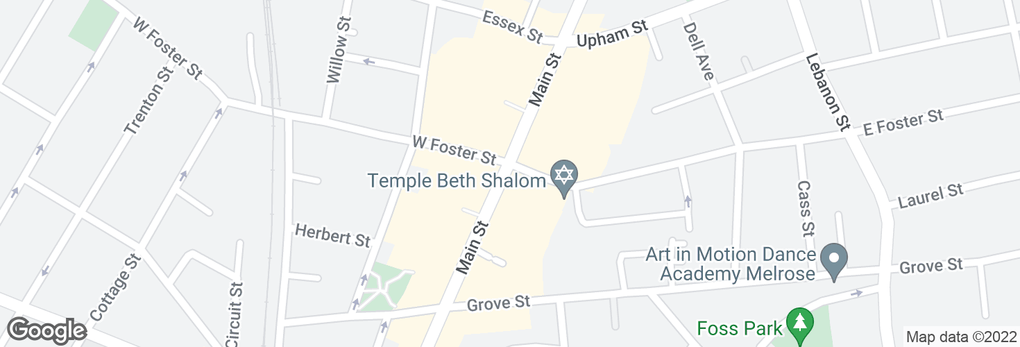 Map of Main St @ E Foster St - Melrose Sq and surrounding area