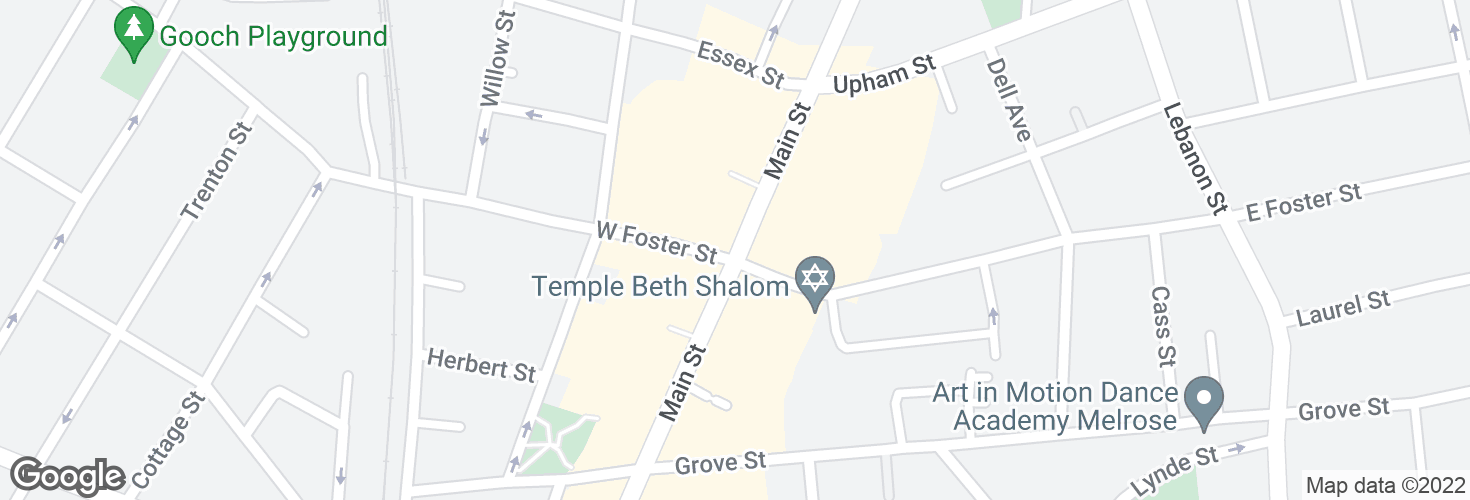 Map of Main St @ W Foster St - Melrose Sq and surrounding area
